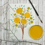 Watercolor Yellow Roses